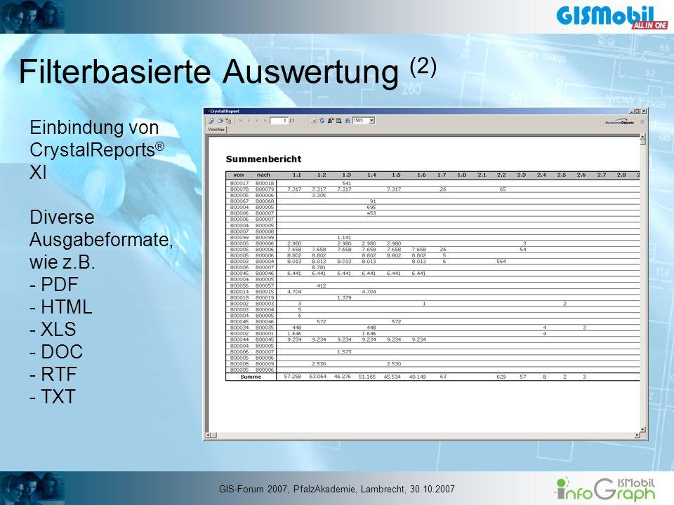 Filterbasierte Auswertung (2) Einbindung von CrystalReports ® XI Diverse Ausgabeformate, wie z.B. - PDF - HTML - XLS - DOC - RTF - TXT GIS-Forum 2007,