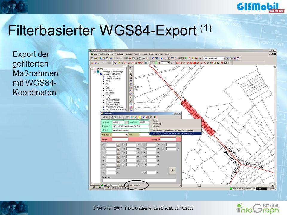 Filterbasierter WGS84-Export (1) Export der gefilterten Maßnahmen mit WGS84- Koordinaten GIS-Forum 2007, PfalzAkademie, Lambrecht, 30.10.2007