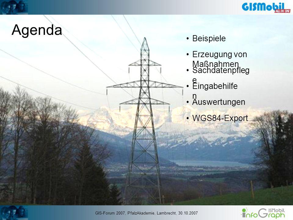 Agenda Beispiele Erzeugung von Maßnahmen WGS84-Export Sachdatenpfleg e Auswertungen Eingabehilfe n GIS-Forum 2007, PfalzAkademie, Lambrecht, 30.10.200