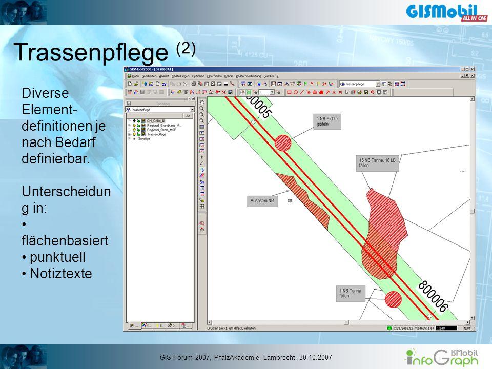 Trassenpflege (2) Diverse Element- definitionen je nach Bedarf definierbar. Unterscheidun g in: flächenbasiert punktuell Notiztexte GIS-Forum 2007, Pf