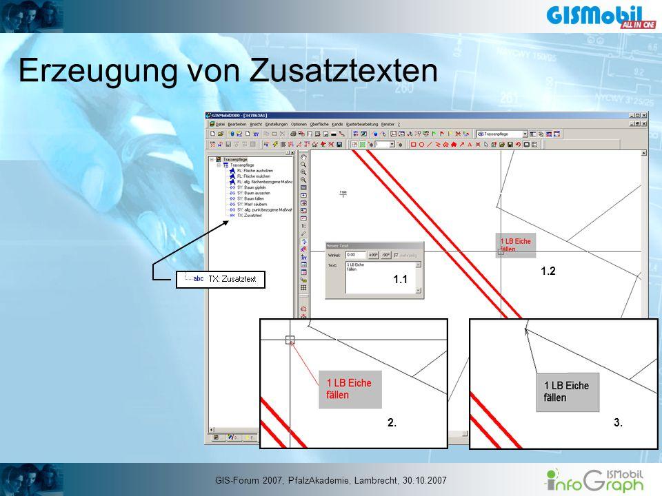 Erzeugung von Zusatztexten 1.2 2.3. 1.1 GIS-Forum 2007, PfalzAkademie, Lambrecht, 30.10.2007