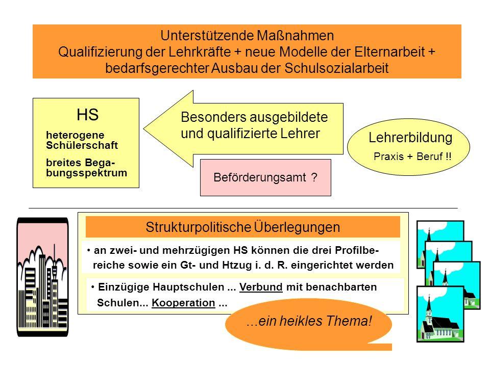 Unterstützende Maßnahmen Qualifizierung der Lehrkräfte + neue Modelle der Elternarbeit + bedarfsgerechter Ausbau der Schulsozialarbeit HS heterogene Schülerschaft breites Bega- bungsspektrum Besonders ausgebildete und qualifizierte Lehrer Lehrerbildung Praxis + Beruf !.