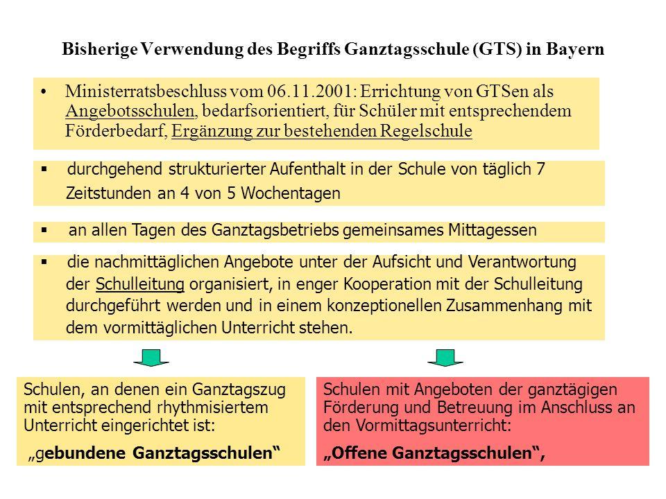 Bisherige Verwendung des Begriffs Ganztagsschule (GTS) in Bayern Ministerratsbeschluss vom 06.11.2001: Errichtung von GTSen als Angebotsschulen, bedarfsorientiert, für Schüler mit entsprechendem Förderbedarf, Ergänzung zur bestehenden Regelschule durchgehend strukturierter Aufenthalt in der Schule von täglich 7 Zeitstunden an 4 von 5 Wochentagen an allen Tagen des Ganztagsbetriebs gemeinsames Mittagessen die nachmittäglichen Angebote unter der Aufsicht und Verantwortung der Schulleitung organisiert, in enger Kooperation mit der Schulleitung durchgeführt werden und in einem konzeptionellen Zusammenhang mit dem vormittäglichen Unterricht stehen.