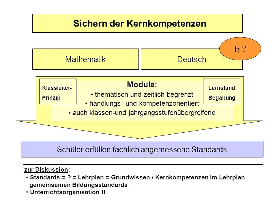 Sichern der Kernkompetenzen MathematikDeutsch Module: thematisch und zeitlich begrenzt handlungs- und kompetenzorientiert auch klassen-und jahrgangsstufenübergreifend E .