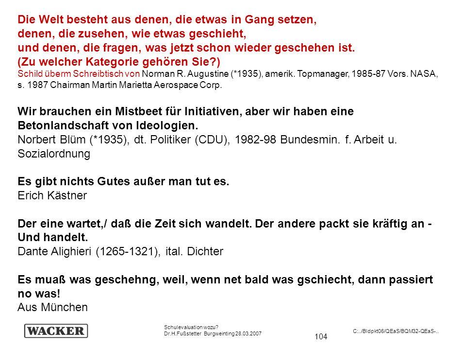 104 Schulevaluation wozu? Dr.H.Fußstetter Burgweinting 28.03.2007 C:../Bldpkt06/QEaS/BQM32-QEaS-.. Die Welt besteht aus denen, die etwas in Gang setze