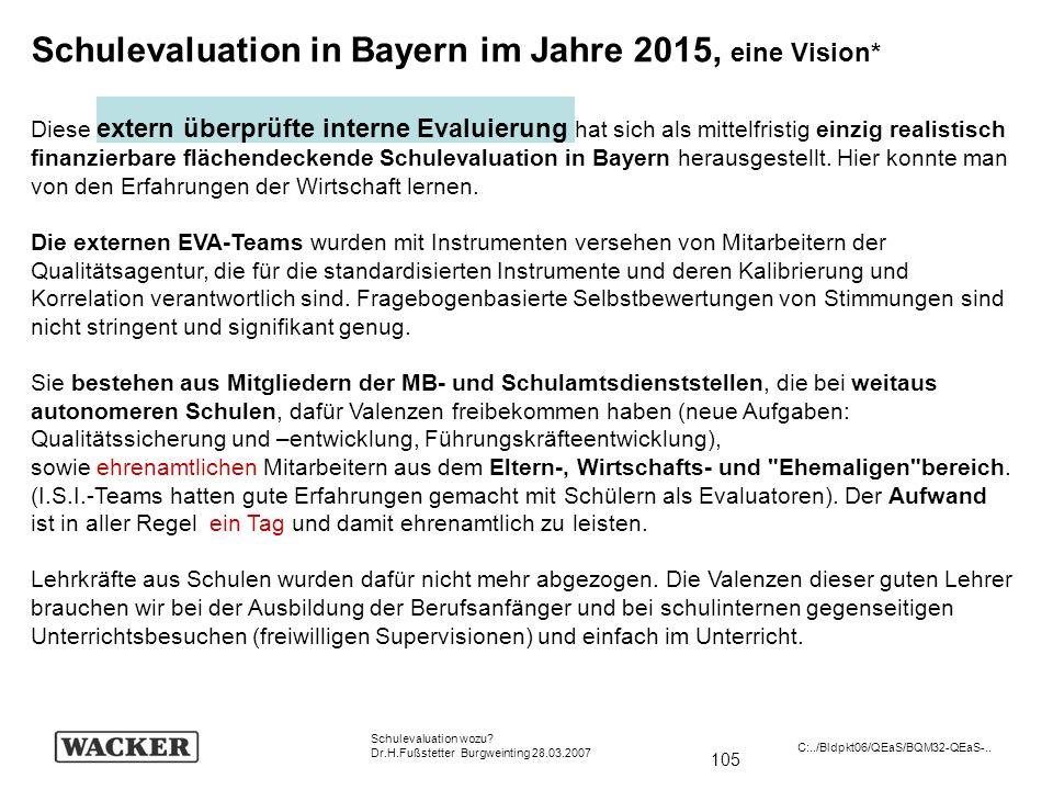 105 Schulevaluation wozu? Dr.H.Fußstetter Burgweinting 28.03.2007 C:../Bldpkt06/QEaS/BQM32-QEaS-.. Schulevaluation in Bayern im Jahre 2015, eine Visio