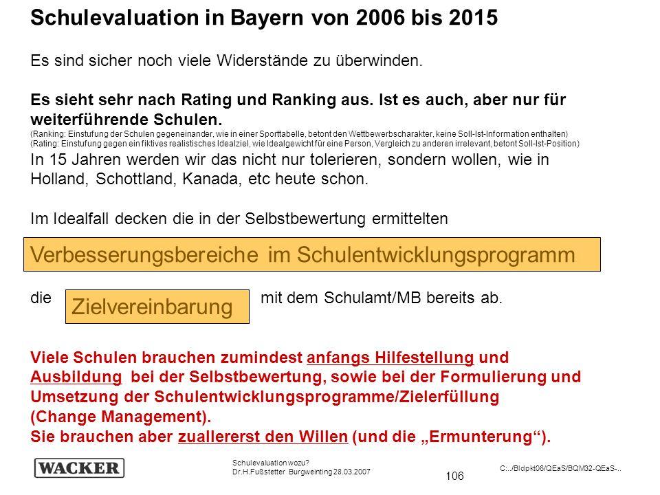 106 Schulevaluation wozu? Dr.H.Fußstetter Burgweinting 28.03.2007 C:../Bldpkt06/QEaS/BQM32-QEaS-.. Schulevaluation in Bayern von 2006 bis 2015 Es sind