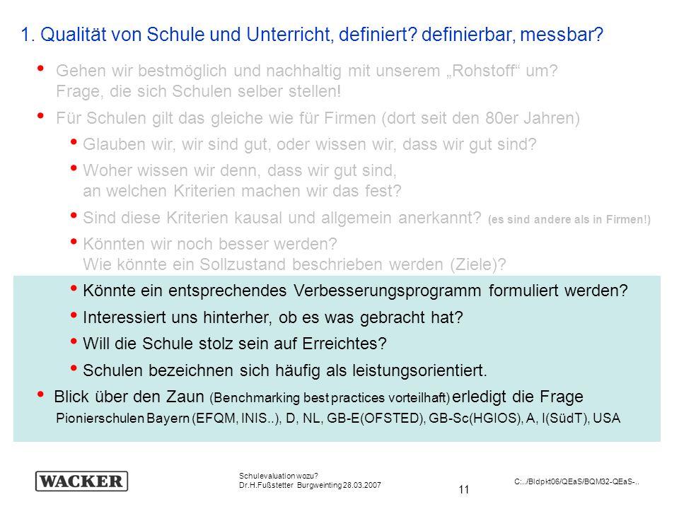 11 Schulevaluation wozu? Dr.H.Fußstetter Burgweinting 28.03.2007 C:../Bldpkt06/QEaS/BQM32-QEaS-.. 1. Qualität von Schule und Unterricht, definiert? de