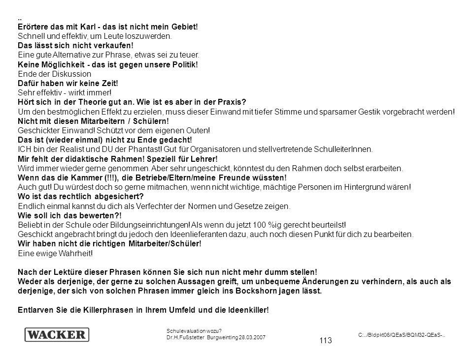 113 Schulevaluation wozu? Dr.H.Fußstetter Burgweinting 28.03.2007 C:../Bldpkt06/QEaS/BQM32-QEaS-.... Erörtere das mit Karl - das ist nicht mein Gebiet