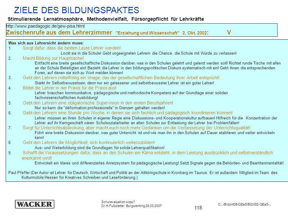 118 Schulevaluation wozu? Dr.H.Fußstetter Burgweinting 28.03.2007 C:../Bldpkt06/QEaS/BQM32-QEaS-.. ZIELE DES BILDUNGSPAKTES Stimulierende Lernatmosphä
