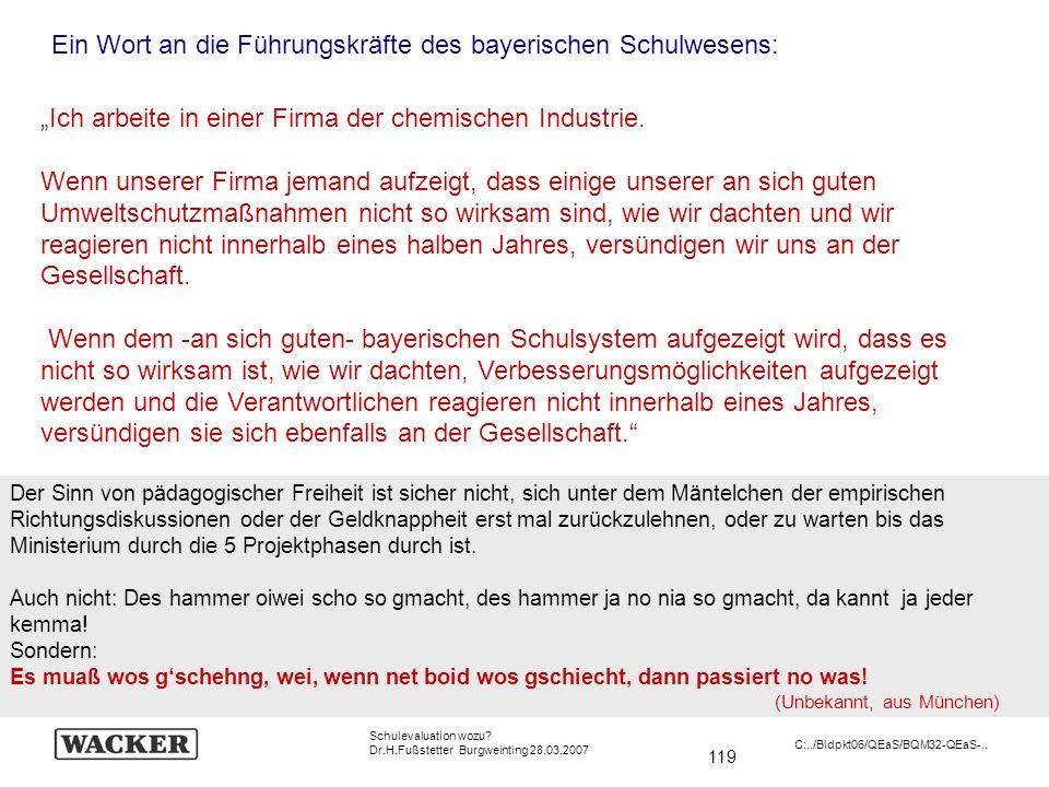 119 Schulevaluation wozu? Dr.H.Fußstetter Burgweinting 28.03.2007 C:../Bldpkt06/QEaS/BQM32-QEaS-.. Ich arbeite in einer Firma der chemischen Industrie