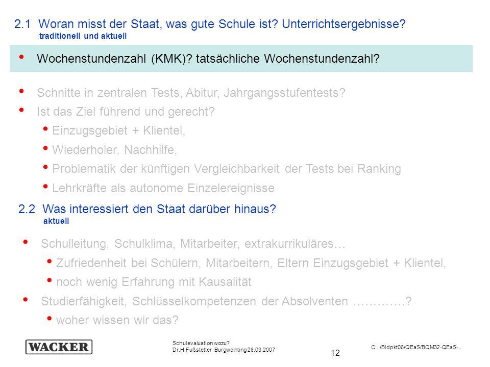 12 Schulevaluation wozu? Dr.H.Fußstetter Burgweinting 28.03.2007 C:../Bldpkt06/QEaS/BQM32-QEaS-.. 2.1 Woran misst der Staat, was gute Schule ist? Unte