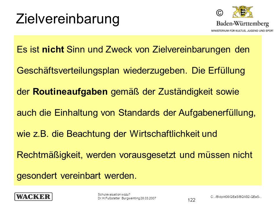 122 Schulevaluation wozu? Dr.H.Fußstetter Burgweinting 28.03.2007 C:../Bldpkt06/QEaS/BQM32-QEaS-.. Zielvereinbarung Es ist nicht Sinn und Zweck von Zi