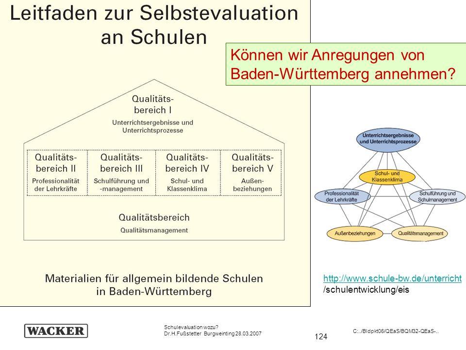 124 Schulevaluation wozu? Dr.H.Fußstetter Burgweinting 28.03.2007 C:../Bldpkt06/QEaS/BQM32-QEaS-.. http://www.schule-bw.de/unterricht /schulentwicklun