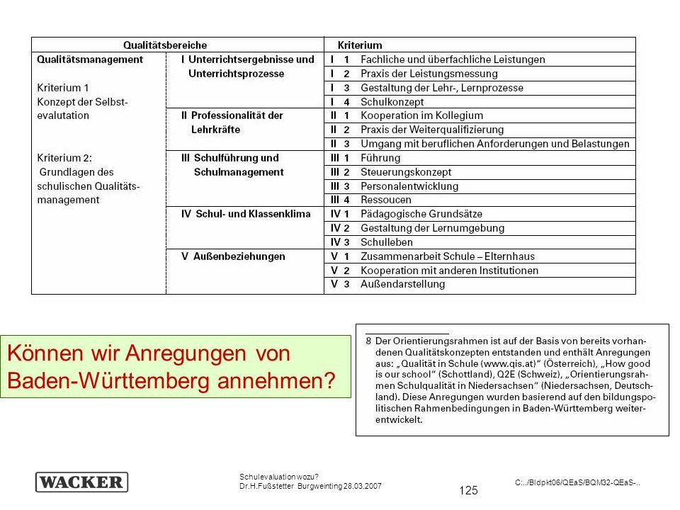 125 Schulevaluation wozu? Dr.H.Fußstetter Burgweinting 28.03.2007 C:../Bldpkt06/QEaS/BQM32-QEaS-.. Können wir Anregungen von Baden-Württemberg annehme