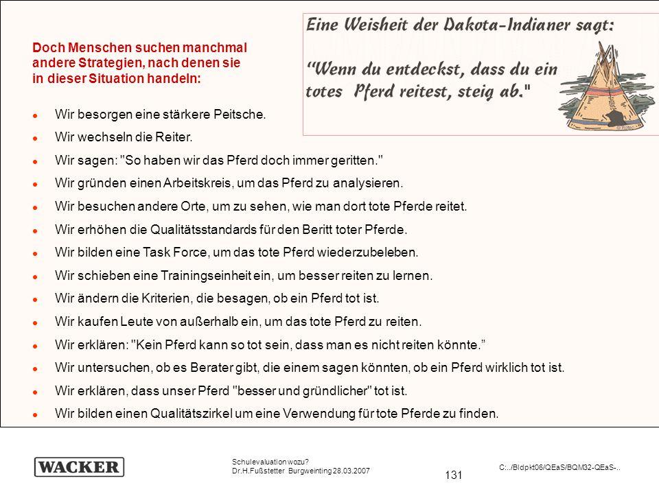 131 Schulevaluation wozu? Dr.H.Fußstetter Burgweinting 28.03.2007 C:../Bldpkt06/QEaS/BQM32-QEaS-.. Doch Menschen suchen manchmal andere Strategien, na