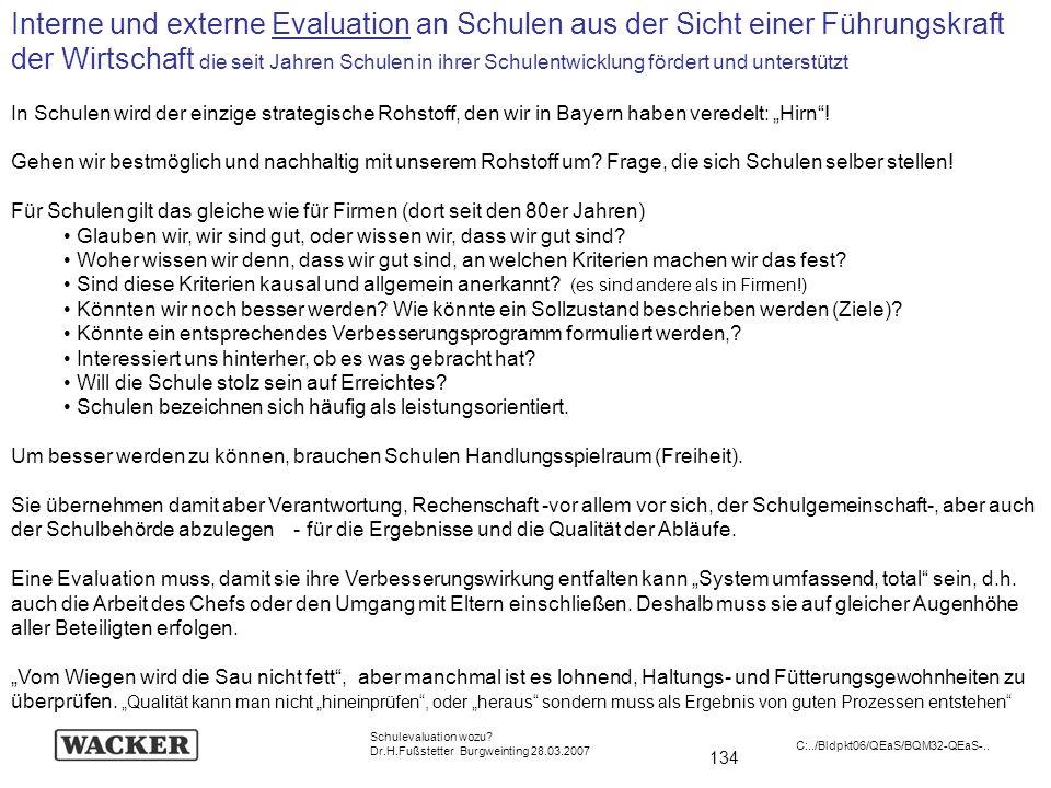 134 Schulevaluation wozu? Dr.H.Fußstetter Burgweinting 28.03.2007 C:../Bldpkt06/QEaS/BQM32-QEaS-.. Interne und externe Evaluation an Schulen aus der S