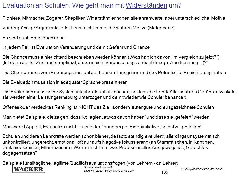 135 Schulevaluation wozu? Dr.H.Fußstetter Burgweinting 28.03.2007 C:../Bldpkt06/QEaS/BQM32-QEaS-.. Evaluation an Schulen: Wie geht man mit Widerstände