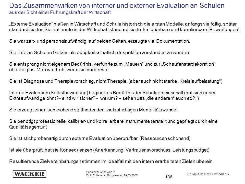 136 Schulevaluation wozu? Dr.H.Fußstetter Burgweinting 28.03.2007 C:../Bldpkt06/QEaS/BQM32-QEaS-.. Das Zusammenwirken von interner und externer Evalua