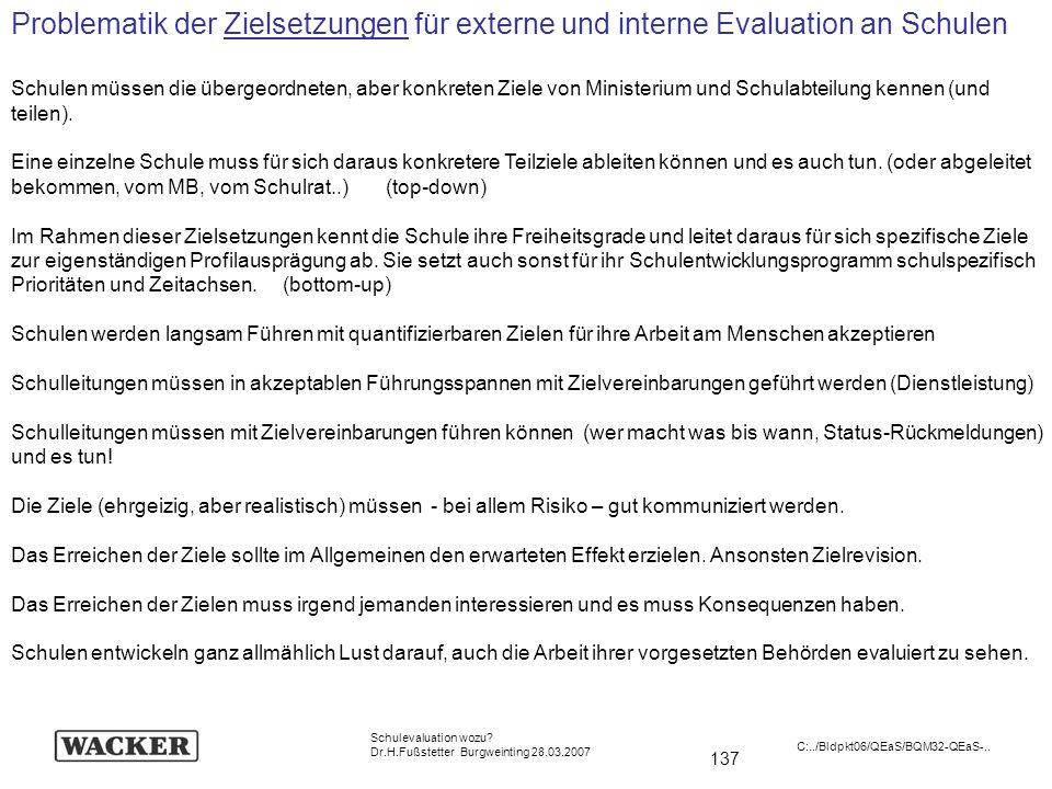137 Schulevaluation wozu? Dr.H.Fußstetter Burgweinting 28.03.2007 C:../Bldpkt06/QEaS/BQM32-QEaS-.. Problematik der Zielsetzungen für externe und inter