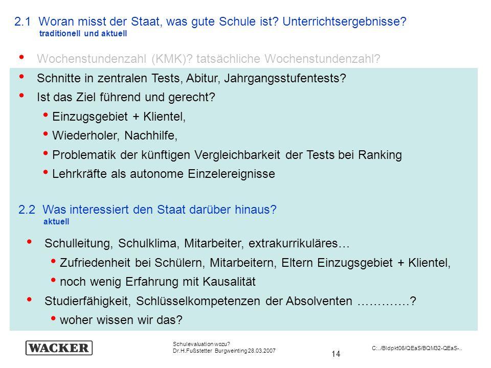 14 Schulevaluation wozu? Dr.H.Fußstetter Burgweinting 28.03.2007 C:../Bldpkt06/QEaS/BQM32-QEaS-.. 2.1 Woran misst der Staat, was gute Schule ist? Unte