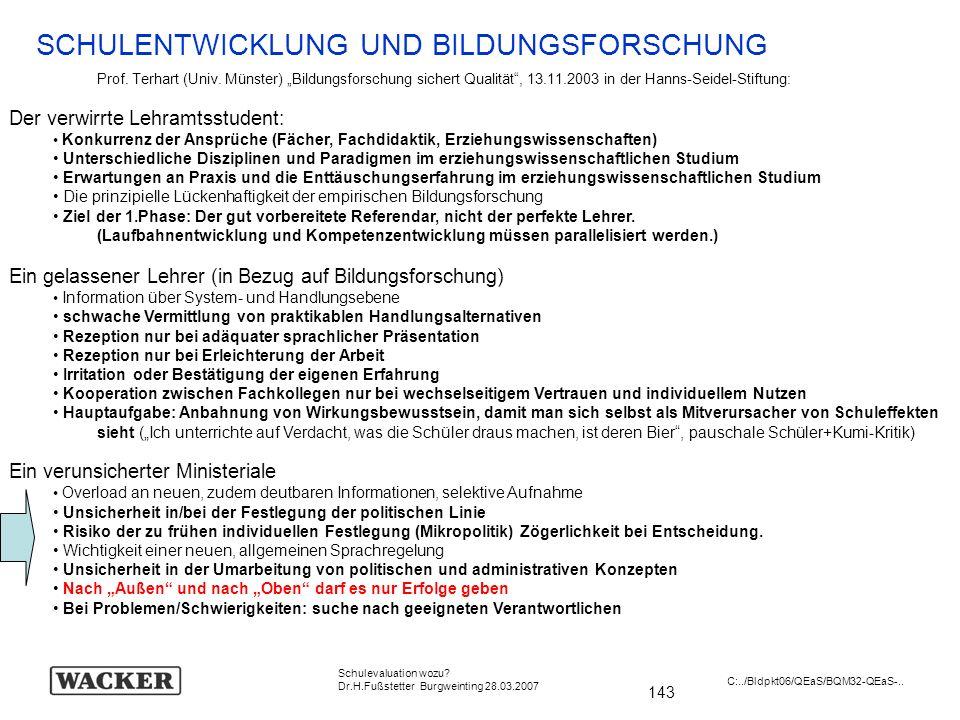 143 Schulevaluation wozu? Dr.H.Fußstetter Burgweinting 28.03.2007 C:../Bldpkt06/QEaS/BQM32-QEaS-.. SCHULENTWICKLUNG UND BILDUNGSFORSCHUNG Prof. Terhar