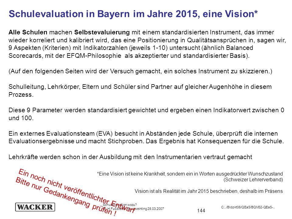 144 Schulevaluation wozu? Dr.H.Fußstetter Burgweinting 28.03.2007 C:../Bldpkt06/QEaS/BQM32-QEaS-.. Schulevaluation in Bayern im Jahre 2015, eine Visio