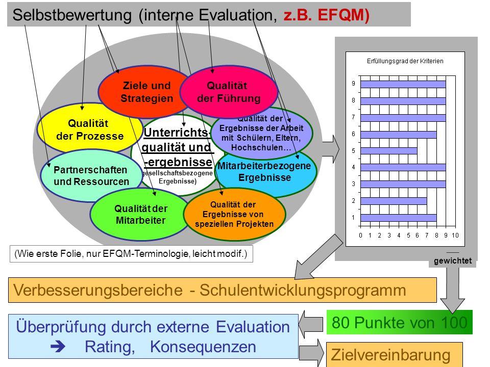 145 Schulevaluation wozu? Dr.H.Fußstetter Burgweinting 28.03.2007 C:../Bldpkt06/QEaS/BQM32-QEaS-.. Selbstbewertung (interne Evaluation, z.B. EFQM) Ver