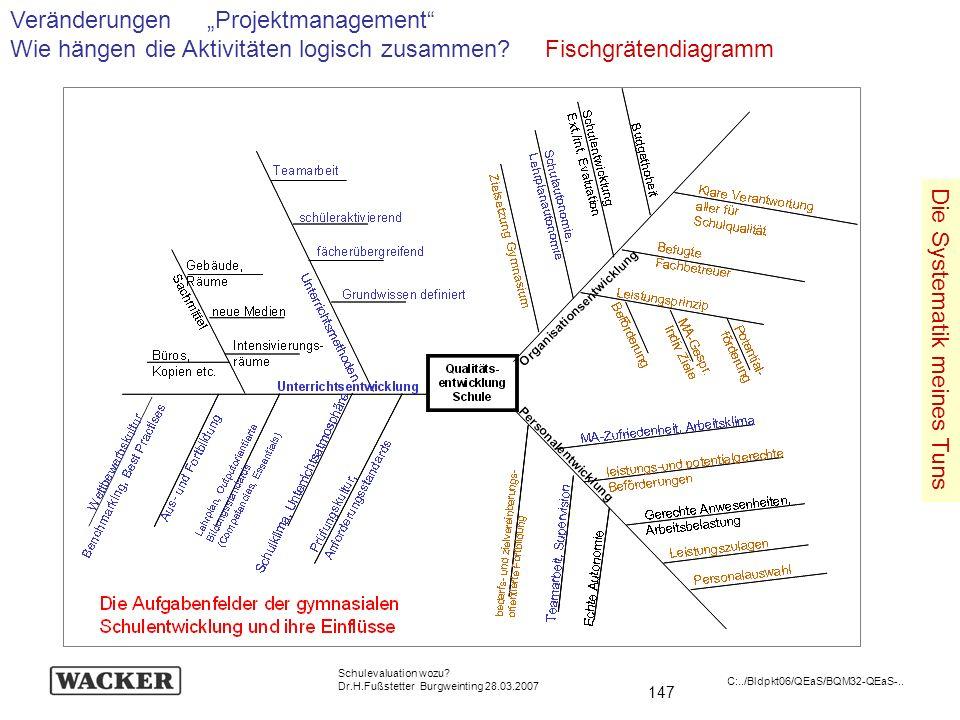 147 Schulevaluation wozu? Dr.H.Fußstetter Burgweinting 28.03.2007 C:../Bldpkt06/QEaS/BQM32-QEaS-.. Veränderungen Projektmanagement Wie hängen die Akti