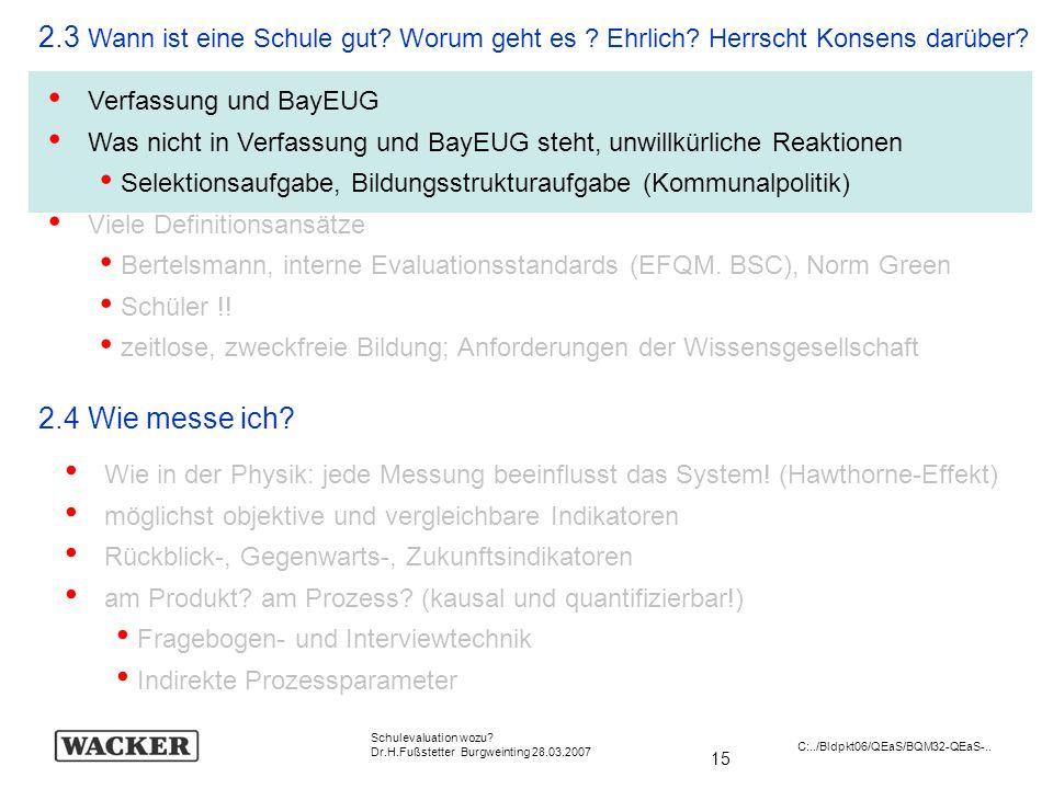 15 Schulevaluation wozu? Dr.H.Fußstetter Burgweinting 28.03.2007 C:../Bldpkt06/QEaS/BQM32-QEaS-.. 2.3 Wann ist eine Schule gut? Worum geht es ? Ehrlic
