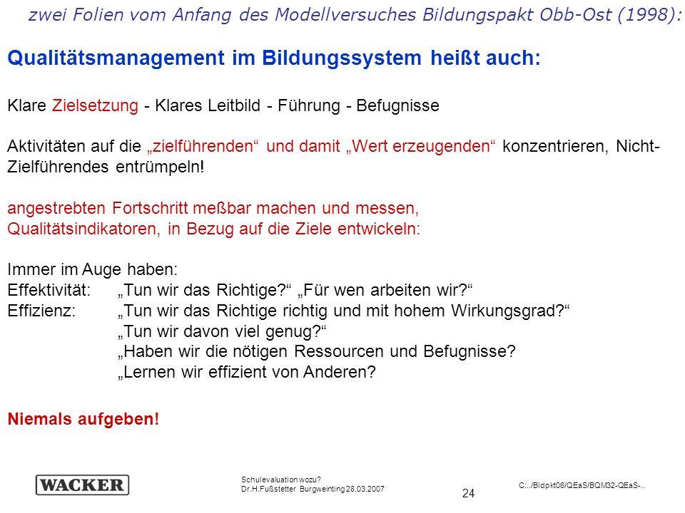 24 Schulevaluation wozu? Dr.H.Fußstetter Burgweinting 28.03.2007 C:../Bldpkt06/QEaS/BQM32-QEaS-.. Qualitätsmanagement im Bildungssystem heißt auch: Kl