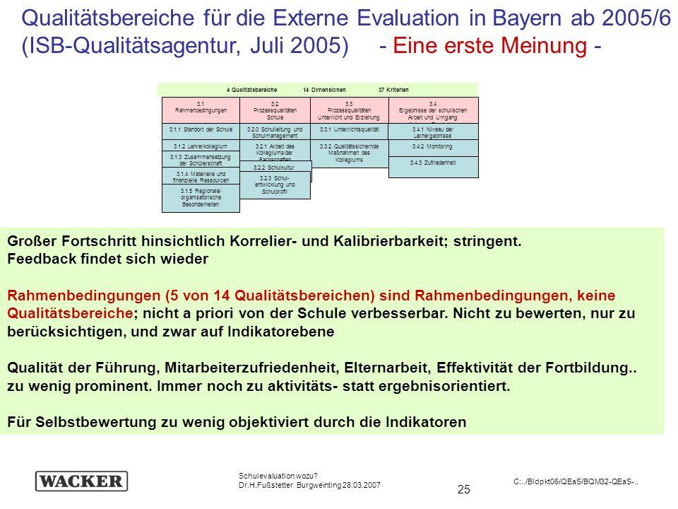 25 Schulevaluation wozu? Dr.H.Fußstetter Burgweinting 28.03.2007 C:../Bldpkt06/QEaS/BQM32-QEaS-.. Qualitätsbereiche für die Externe Evaluation in Baye