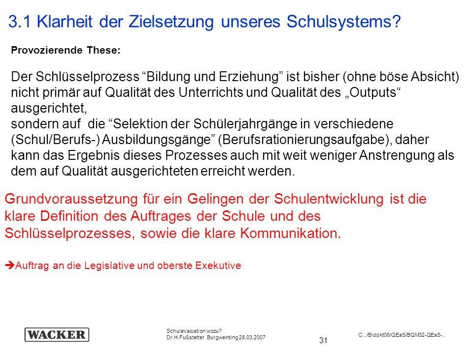 31 Schulevaluation wozu? Dr.H.Fußstetter Burgweinting 28.03.2007 C:../Bldpkt06/QEaS/BQM32-QEaS-.. Provozierende These: Der Schlüsselprozess Bildung un