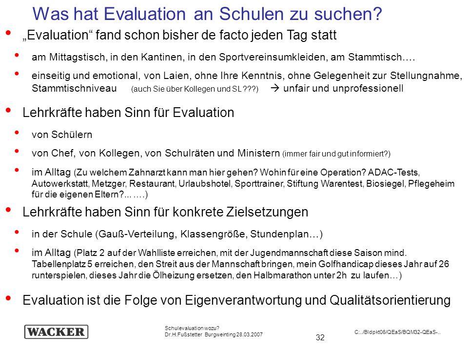 32 Schulevaluation wozu? Dr.H.Fußstetter Burgweinting 28.03.2007 C:../Bldpkt06/QEaS/BQM32-QEaS-.. Evaluation fand schon bisher de facto jeden Tag stat