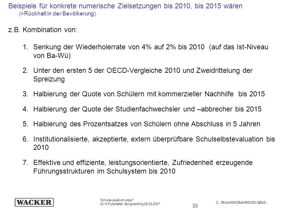 33 Schulevaluation wozu? Dr.H.Fußstetter Burgweinting 28.03.2007 C:../Bldpkt06/QEaS/BQM32-QEaS-.. Beispiele für konkrete numerische Zielsetzungen bis