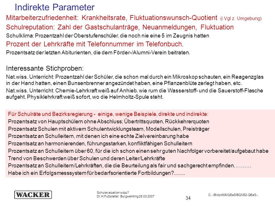 34 Schulevaluation wozu? Dr.H.Fußstetter Burgweinting 28.03.2007 C:../Bldpkt06/QEaS/BQM32-QEaS-.. Indirekte Parameter Mitarbeiterzufriedenheit: Krankh