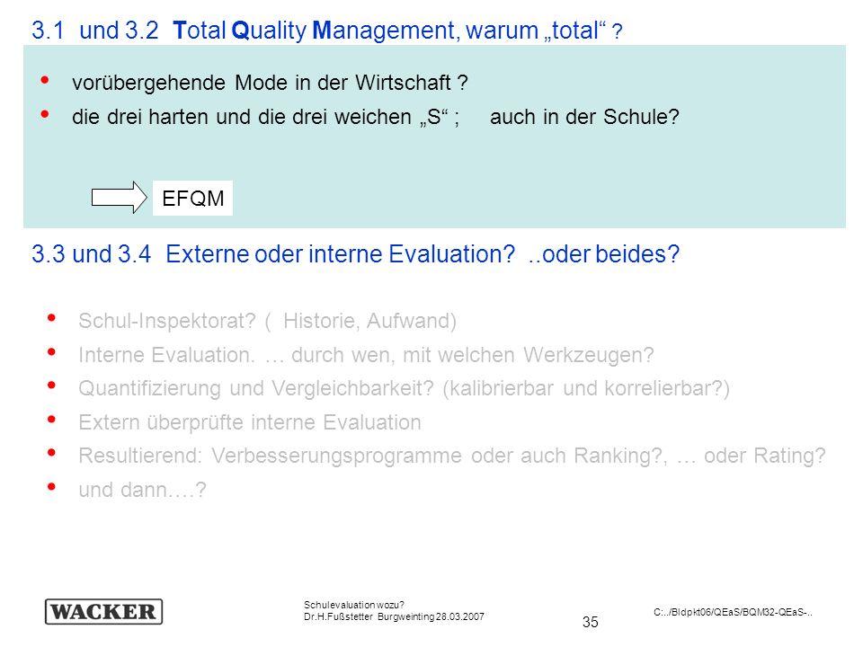 35 Schulevaluation wozu? Dr.H.Fußstetter Burgweinting 28.03.2007 C:../Bldpkt06/QEaS/BQM32-QEaS-.. 3.1 und 3.2 Total Quality Management, warum total ?