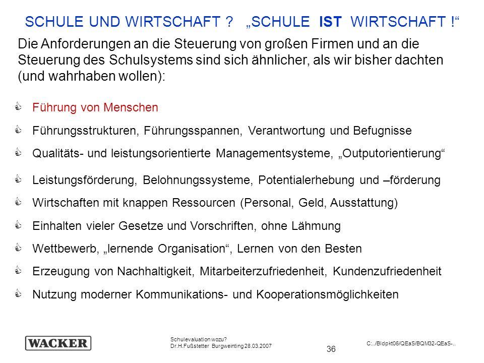 36 Schulevaluation wozu? Dr.H.Fußstetter Burgweinting 28.03.2007 C:../Bldpkt06/QEaS/BQM32-QEaS-.. SCHULE UND WIRTSCHAFT ? SCHULE IST WIRTSCHAFT ! Die