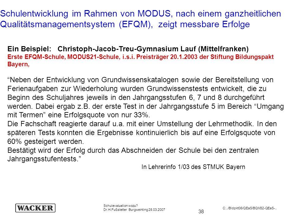 38 Schulevaluation wozu? Dr.H.Fußstetter Burgweinting 28.03.2007 C:../Bldpkt06/QEaS/BQM32-QEaS-.. Schulentwicklung im Rahmen von MODUS, nach einem gan