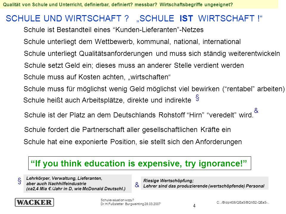 4 Schulevaluation wozu? Dr.H.Fußstetter Burgweinting 28.03.2007 C:../Bldpkt06/QEaS/BQM32-QEaS-.. SCHULE UND WIRTSCHAFT ? SCHULE IST WIRTSCHAFT ! If yo
