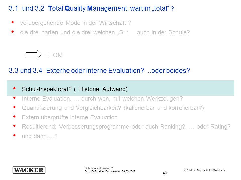 40 Schulevaluation wozu? Dr.H.Fußstetter Burgweinting 28.03.2007 C:../Bldpkt06/QEaS/BQM32-QEaS-.. 3.1 und 3.2 Total Quality Management, warum total ?