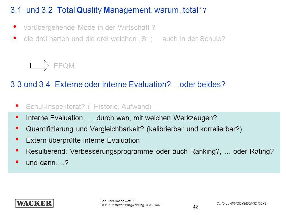 42 Schulevaluation wozu? Dr.H.Fußstetter Burgweinting 28.03.2007 C:../Bldpkt06/QEaS/BQM32-QEaS-.. 3.1 und 3.2 Total Quality Management, warum total ?
