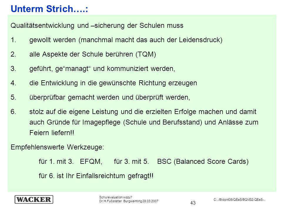 43 Schulevaluation wozu? Dr.H.Fußstetter Burgweinting 28.03.2007 C:../Bldpkt06/QEaS/BQM32-QEaS-.. Unterm Strich….: Qualitätsentwicklung und –sicherung