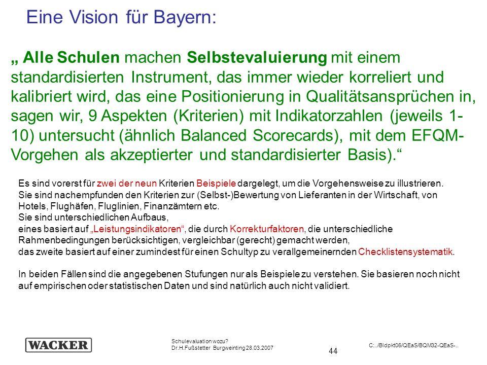 44 Schulevaluation wozu? Dr.H.Fußstetter Burgweinting 28.03.2007 C:../Bldpkt06/QEaS/BQM32-QEaS-.. Alle Schulen machen Selbstevaluierung mit einem stan