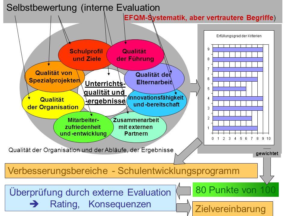 46 Schulevaluation wozu? Dr.H.Fußstetter Burgweinting 28.03.2007 C:../Bldpkt06/QEaS/BQM32-QEaS-.. Selbstbewertung (interne Evaluation EFQM-Systematik,