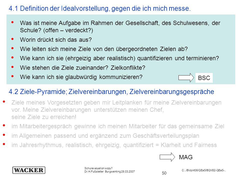 50 Schulevaluation wozu? Dr.H.Fußstetter Burgweinting 28.03.2007 C:../Bldpkt06/QEaS/BQM32-QEaS-.. 4.1 Definition der Idealvorstellung, gegen die ich m