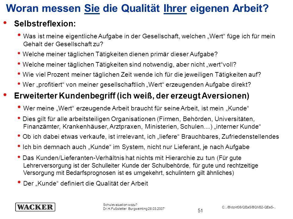 51 Schulevaluation wozu? Dr.H.Fußstetter Burgweinting 28.03.2007 C:../Bldpkt06/QEaS/BQM32-QEaS-.. Woran messen Sie die Qualität Ihrer eigenen Arbeit?
