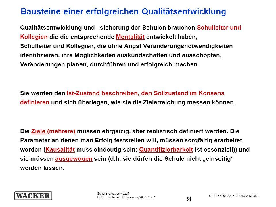 54 Schulevaluation wozu? Dr.H.Fußstetter Burgweinting 28.03.2007 C:../Bldpkt06/QEaS/BQM32-QEaS-.. Qualitätsentwicklung und –sicherung der Schulen brau