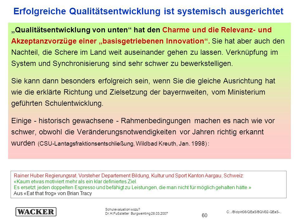 60 Schulevaluation wozu? Dr.H.Fußstetter Burgweinting 28.03.2007 C:../Bldpkt06/QEaS/BQM32-QEaS-.. Qualitätsentwicklung von unten hat den Charme und di
