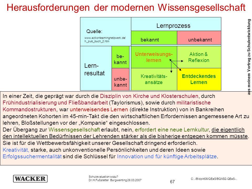 67 Schulevaluation wozu? Dr.H.Fußstetter Burgweinting 28.03.2007 C:../Bldpkt06/QEaS/BQM32-QEaS-.. In einer Zeit, die geprägt war durch die Disziplin v